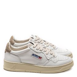 AUTRY 01 LOW LEATHER / NUBUCK / WHITE / TAUPE WHITE / TAUPE